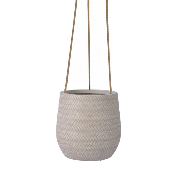 Basket Weave Fibrestone Hanging Egg Planter