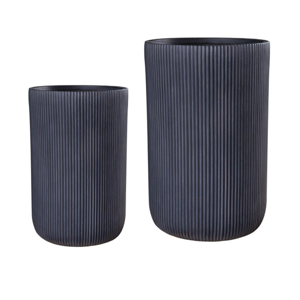 Ribbed Cylinder Outdoor Planter