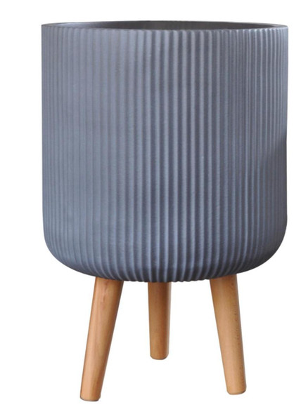 Fibrestone Ribbed Cylinder Planter with Feet