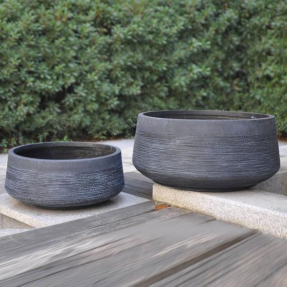 Ribbed Fibrestone Bowl Planter