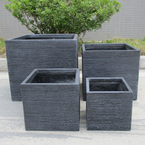Ribbed Fibrestone Cube Planter