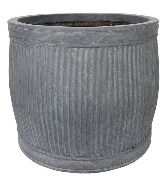 Vertical Ribbed Vintage Style Faux Lead Barrel Round Planter