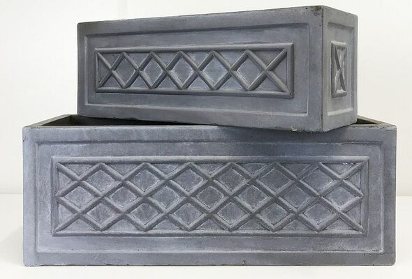 Fibrestone Grey Lattice Window Box Planter