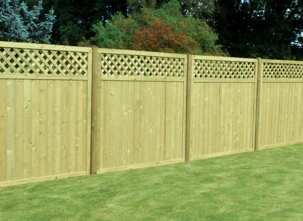 Tongue & Groove Lattice Top Fence Panel (1800 x 1800mm) - Pressure Treated Green Timber
