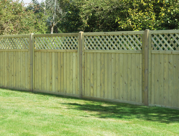 Tongue & Groove Lattice Top Fence Panel (1800 x 1500mm) - Pressure Treated Green Timber