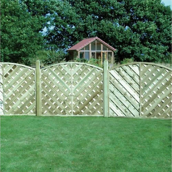 V Arched Madrid Fence Panel (1800 x 1800mm) - Pressure Treated Green Timber