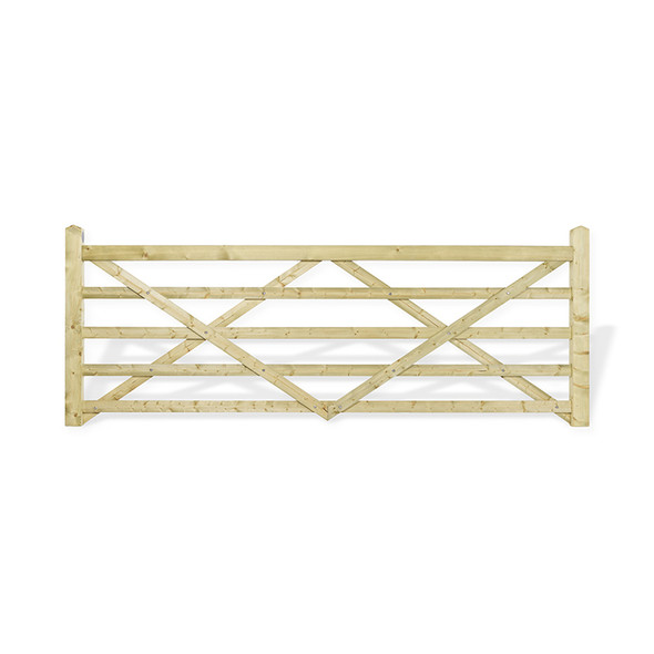 12' 5 bar Field Gate Kit (Universal Hang) - Green Timber with Post, 2 x Hinge Sets and Galvanised Spring Fastener Set