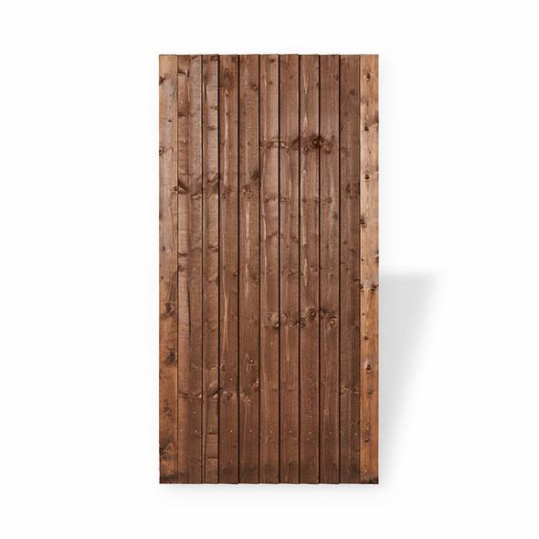 Closeboard garden gate in brown colour wood