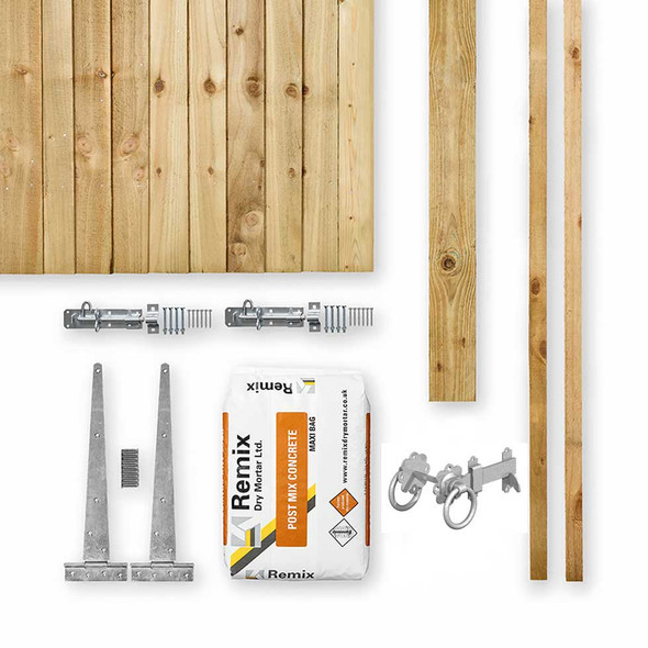Green Closeboard Gate Kit (1750 x 900mm) - Green Timber with Post, Stops, Hinges, Latch, Padbolts and Post Mix
