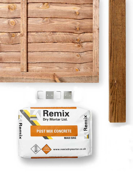 Brown Lap Fence Panel Kit (1830 x 1650mm) - Brown Timber with Timber Post, Concrete and Clips