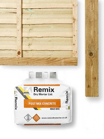 Green Lap Fence Panel Kit (1830 x 1650mm) - Green Timber with Timber Post, Concrete and Clips