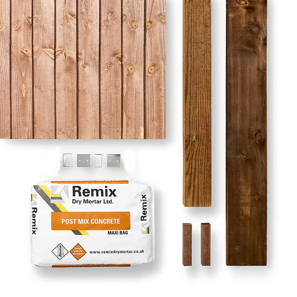 Brown Closeboard Fence Panel Kit (1830 x 1650mm) - Brown Timber with Timber Post, Concrete and Gravel Board