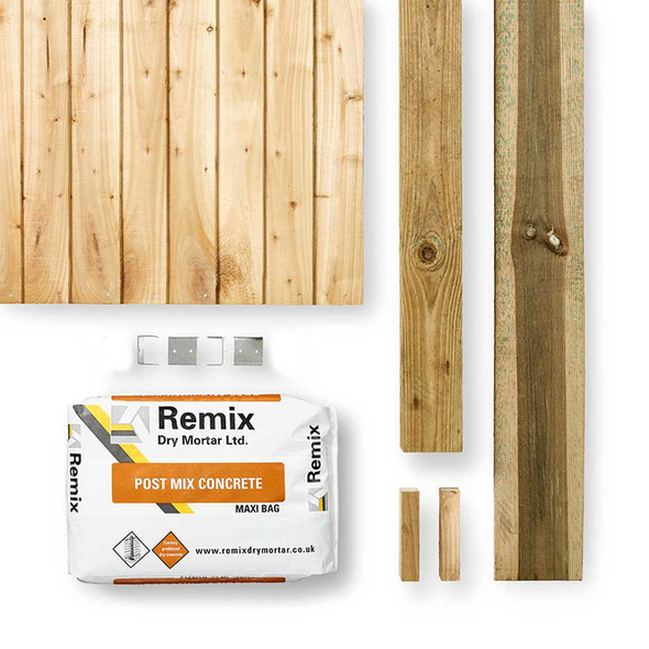 Closeboard Fence Panel Kit (1830 x 1650mm) - Green Timber with Timber Post, Concrete and Gravel Board