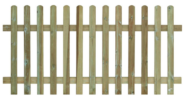 Round Top Picket Fence Panel (1800 x 1200mm) - Pressure Treated Green Timber