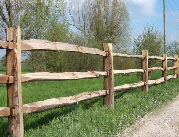 Chestnut Cleft Fence Post (1980m) - Morticed for 3 Rails