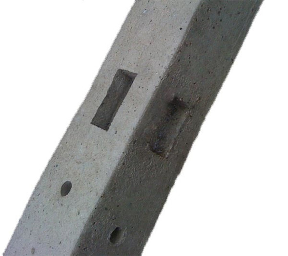 Concrete Corner Pointed Top Fence Post (2750 x 100 x 100mm) - Morticed for 3 Rail, 1.8m High Fence