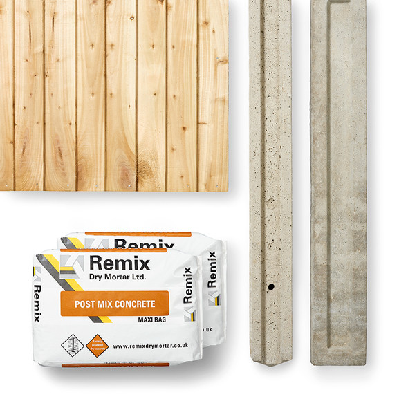 Closeboard Fence Panel Kit (1830 x 1650mm) - Green Timber with Concrete Post, Concrete and Gravel Board