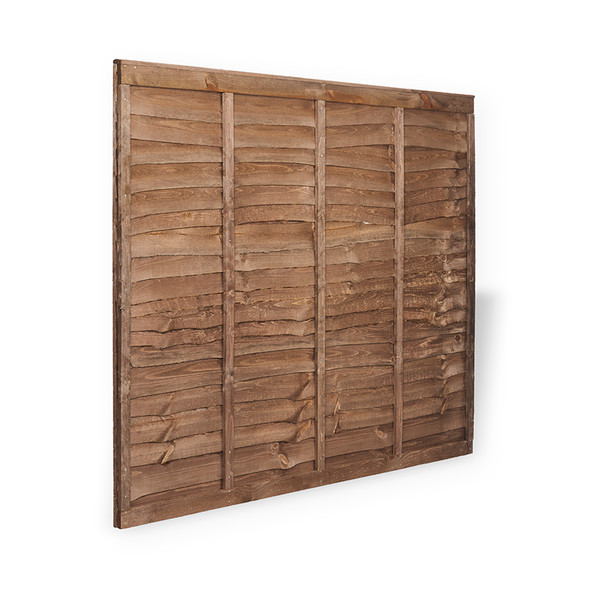 6ft Traditional Lap Fence Panel (1830 x 1500mm) - Dip Treated Brown Timber