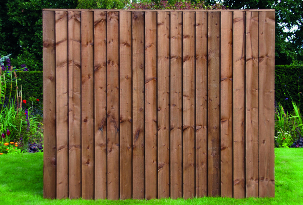 6ft Closeboard Fence Panel (1830 x 1500mm) - Dip Treated Brown Timber