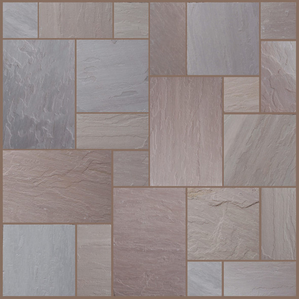 Pine Blend Sandstone Patio Paving Slabs Project Pack (20.78sqm) - Wet