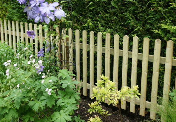 Round Top Picket Fence Panel (1800 x 900mm) - Pressure Treated Green Timber