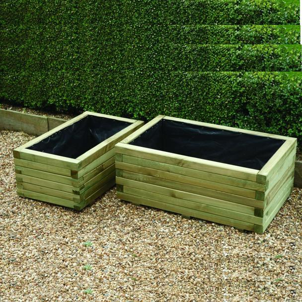 Rectangular Planters (set of 2) - Pressure Treated Green Timber