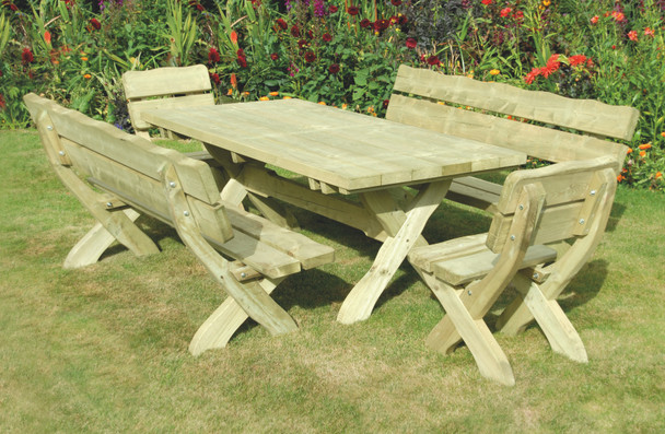 Table shown with matching chair and benches (available separately)
