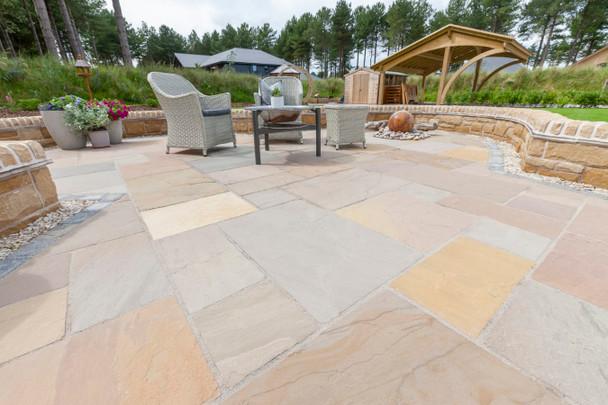 Marshalls Indian Sandstone Calibrated Paving Slab - Brown Multi
