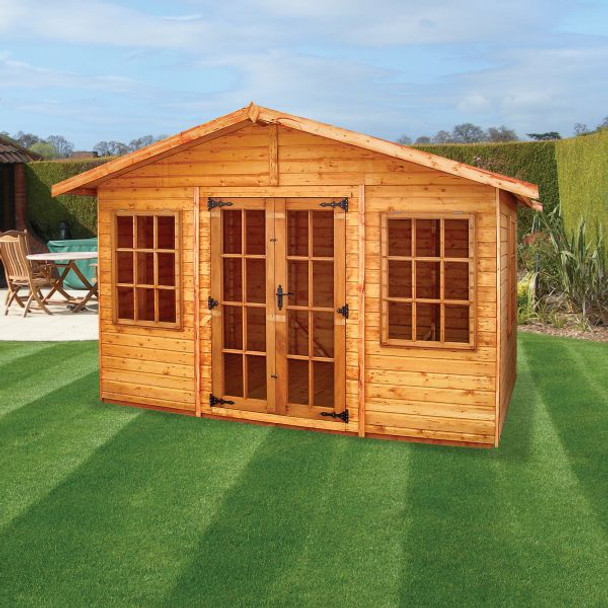 Major Heavy Duty Apex Shed - 1002 'Conversion':  transverse ridge, Cotswold doors & windows, 300mm roof overhang. Alternatively available with large pane doors and windows