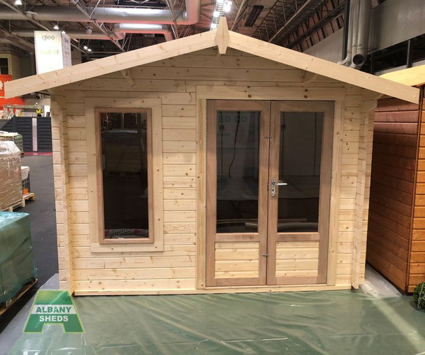 Charnwood Apex Log Cabin - Model A -  1010 with large pane 'Modern' style doors & window