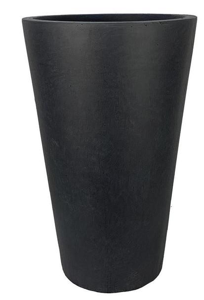Smooth Polished Dark Grey Fibrestone Round Vase Planter