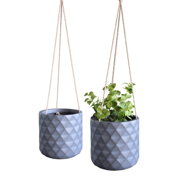 Diamond Style Fibrestone Hanging Round Planter