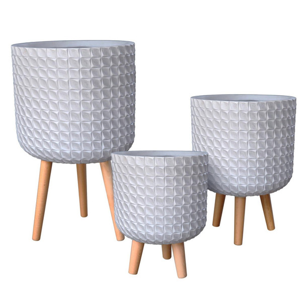 Geometric Patterned Fibrestone Cylinder Planter with Feet