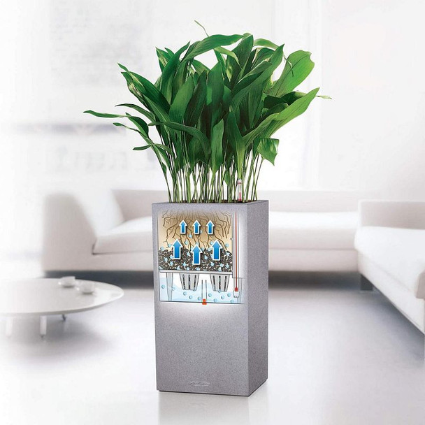 Self-Watering Stone Effect Polyresin Square Column Planter with Substrate