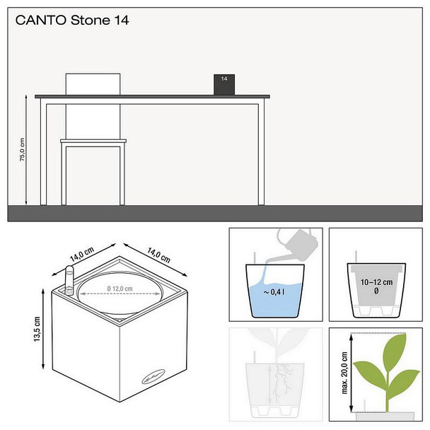 Self-Watering Stone Effect Polyresin Table Planter
