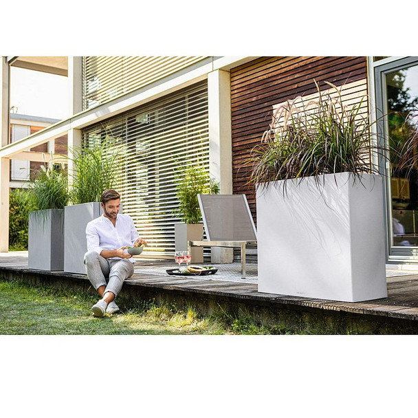 Self-Watering Stone Effect Polyresin Wide Planter with Substrate