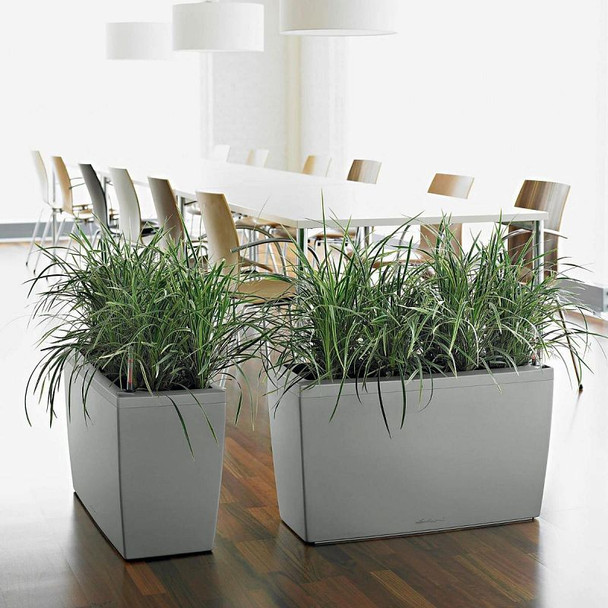 Self-Watering Glossy/Metallic Polyresin Large Trough Planter with Substrate