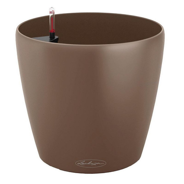 Self-Watering Metallic/Glossy Polyresin Round Pot Planter with Substrate