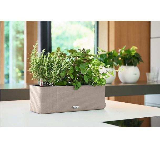 Three Section Self-Watering Basket Weave Polyresin Planter