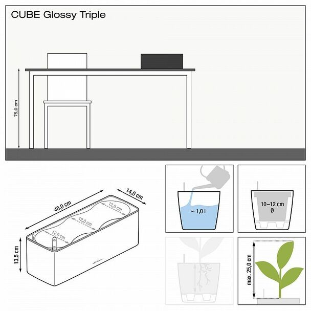 Self-Watering Glossy Polyresin Triple Table Planter