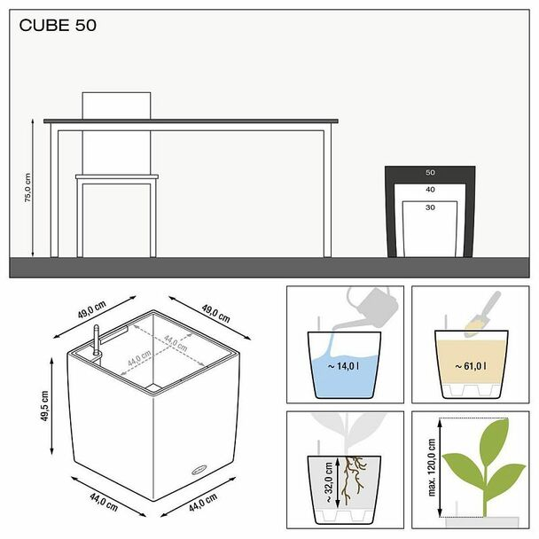 Self-Watering Glossy/Metallic Polyresin Cube Floor Planter with Substrate