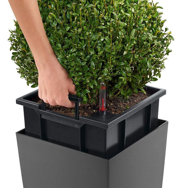 Self-Watering Matt Polyresin Tall Column Planter with Substrate
