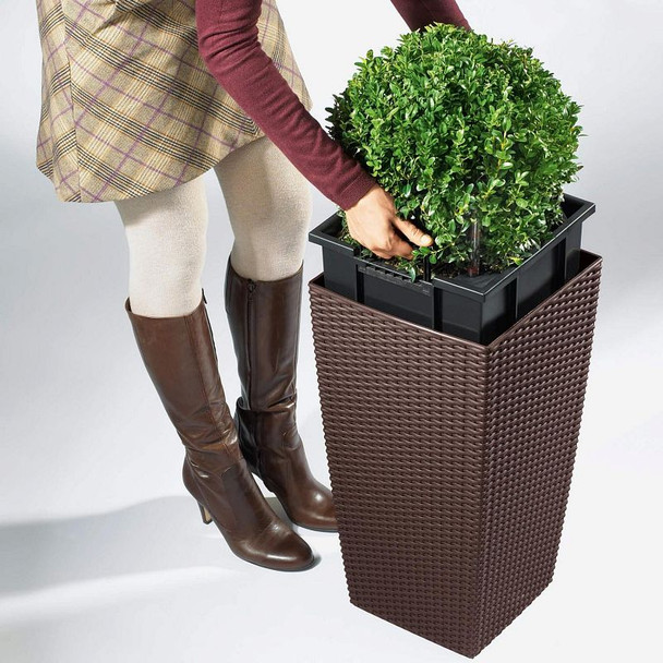 Self-Watering Textured Polyresin Column Planter with Substrate