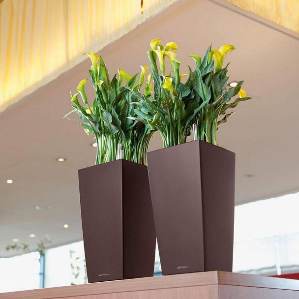 Self-Watering Metallic/Glossy Polyresin Column Planter H41cm
