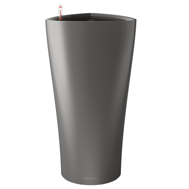 Self-Watering High Gloss/Metallic Polyresin Fluted Planter with Substrate