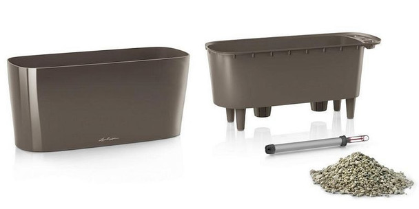 Self-Watering Glossy/Metallic Polyresin Table Trough Planter with Substrate