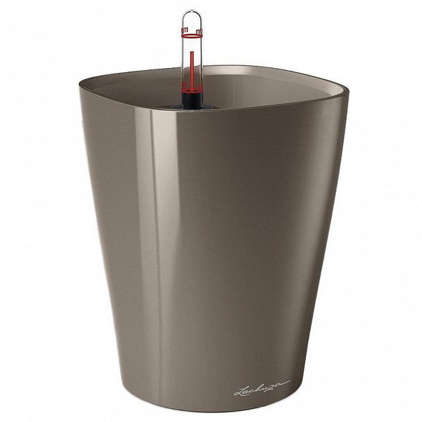 Self-Watering Gloss/Metallic Polyresin Vase Planter with Substrate