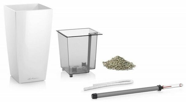 Self-Watering Gloss/Metallic Polyresin Square Vase Planter with Substrate