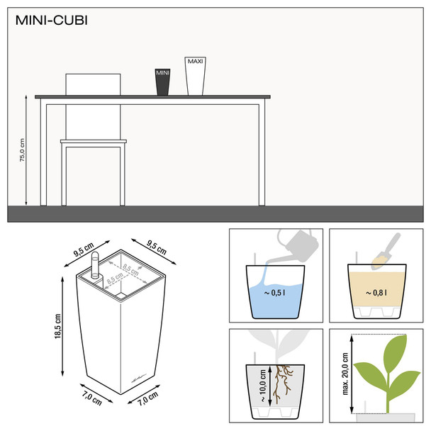 Self-Watering Mini Gloss/Metallic Polyresin Square Vase Planter with Substrate