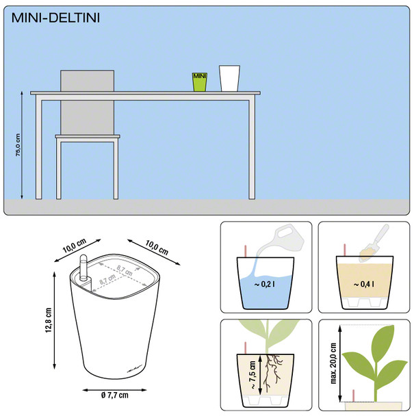 Self-Watering Mini Gloss/Metallic Polyresin Table Planter with Substrate